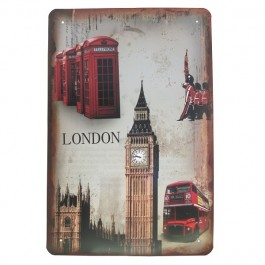 Placa London Vintage em Ferro